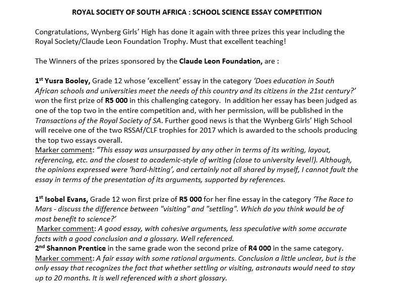 Wynberg Scientists Take Top Positions In Royal Society National  Royal Society Apa Format Sample Essay Paper also Example Of English Essay Examples Of Persuasive Essays For High School