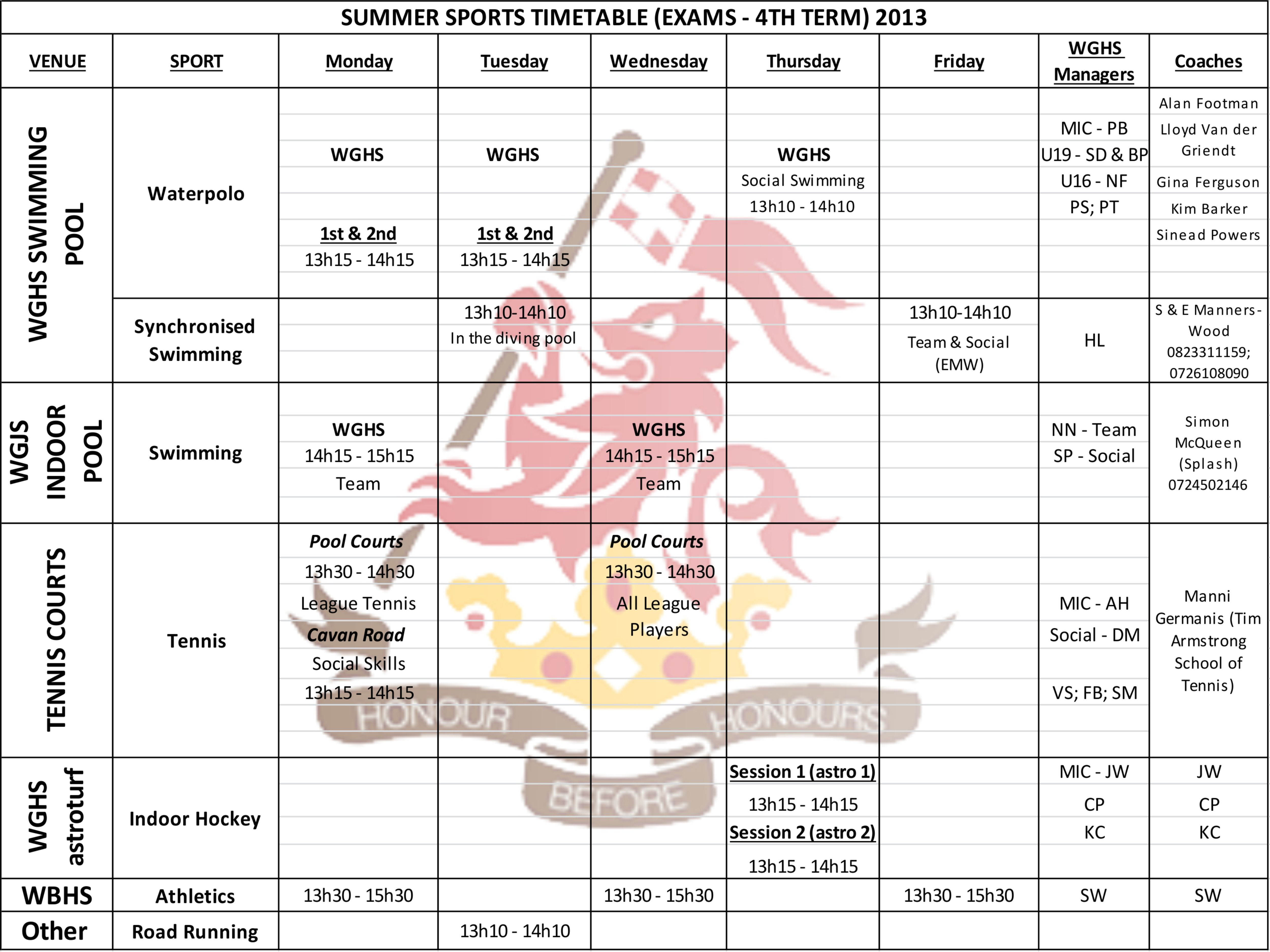 Sports Timetable during Exams