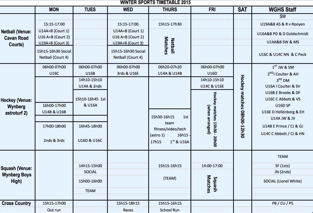 Winter Sports Timetable 2015