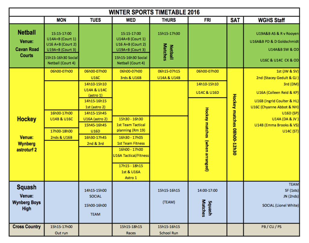 Winter Sports Timetable